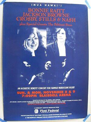 Bonnie Raitt, Jackson Browne, Crosby Stills & Nash Original Concert Poster 1992