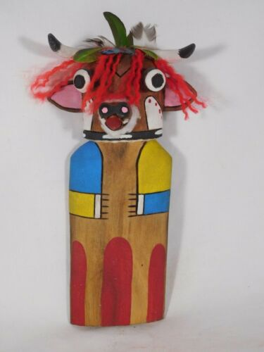 """COLORFUL OLD STYLE HOPI INDIAN """"COW""""  KACHINA FROM THE BEAN DANCE"""
