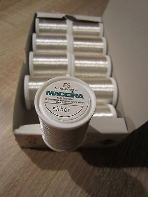 (0,46 € /100 m )     1000 m Rolle Madeira Metall Stickgarn NO 40 Silber  ( G 5 a