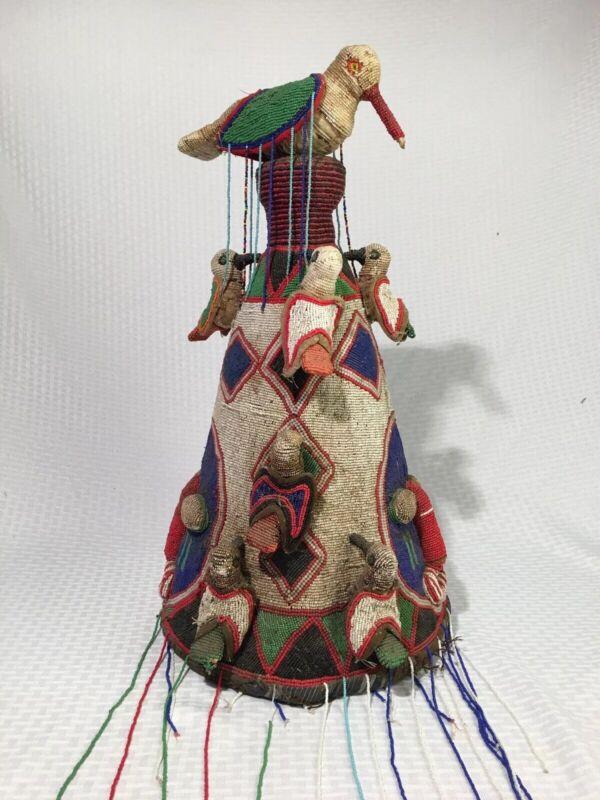 "Antique 22"" Incredible Yoruba Nigeria African beaded crown Ceremonial headdress"