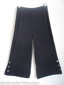 CHICOS TRAVELERS ✿ INK NAVY BLUE SIDE BUTTON CROPPED CAPRI PANTS ✿ 1 SM S M NEW