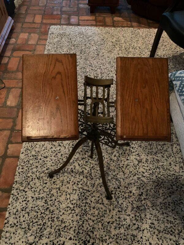 Antique 1895 Victorian Music Book Stand Wood Wrought Iron