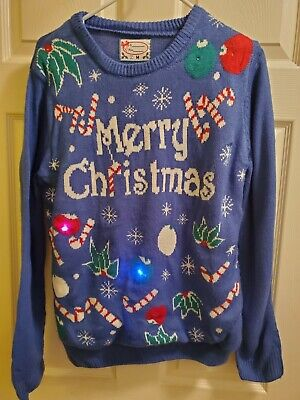 Merry Christmas Pullover Sweater Sz M Blue Lights Up & Flashes VG Pre-owned ()