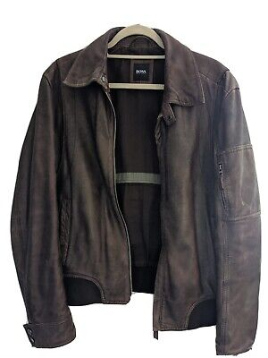 Hugo Boss brown Leather Jacket men's size 48R