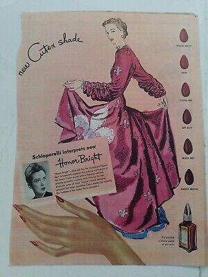 1945 Schiaparelli interpret Cutex Honor Bright fingernail nail polish vintage ad