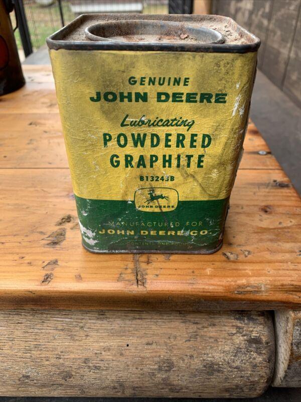 Vintage 1# Genuine John Deere Lubricating Powdered Graphite Paper Can, 4 Legs