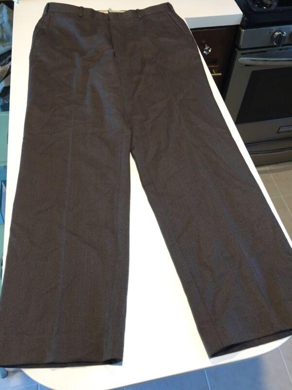 VTG 80s ORVIS Wool Dress Pants Slacks Brown Twill USA Made 34x31