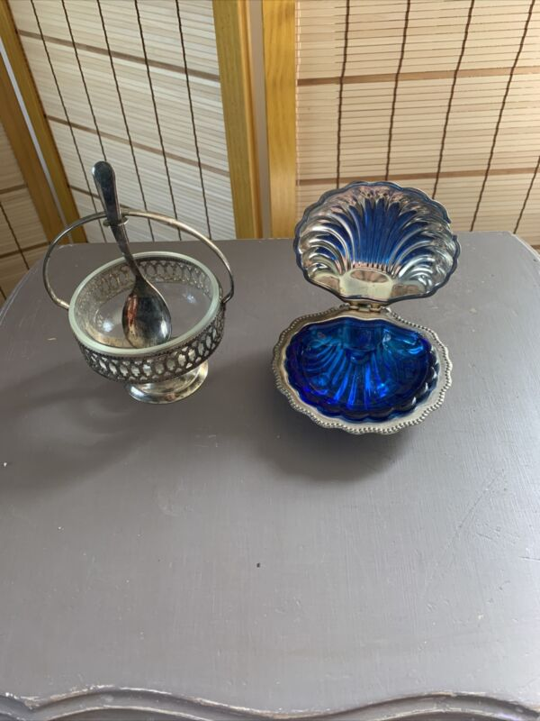Vintage Silver Plated Clam Shell Butter Serving Dish And Queen Ann Jam Dish