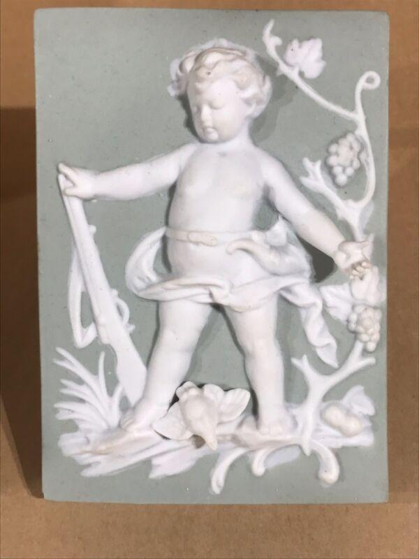 Bisque porcelain Cherub Wall Plaque by Arnart Japan Vintage