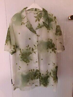 Grün Floral Bluse (Kurzarm Bluse klassisch florales Design Grüntöne pflegeleicht,Maße beachten-50?)