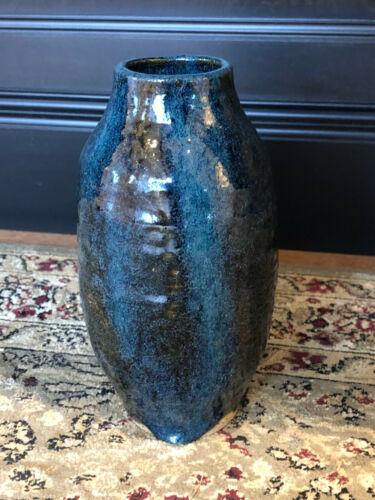 Pottery Stoneware Blue Salt Glazed Vase Jug Jar Phyllis Menke Art Signed Indiana