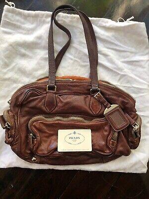 Authentic Rare Vintage PRADA Dark Red Washed Leather Bauletto Handbag