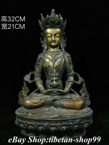 """12"""" Old Tibet Bronze Gilt  Amitayus Amitayus longevity God Goddess Buddha Statue"""