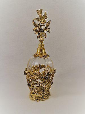 Matson Vintage Perfume Bottle 24K Gold Plate Dogwood Bird Design