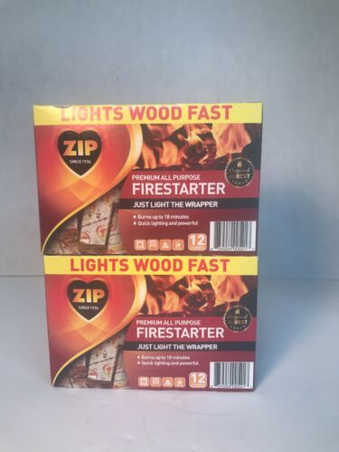 24 Fire Starter Zip Premium All Purpose Wrapped Fireplace Cubes (2 Packs Total)