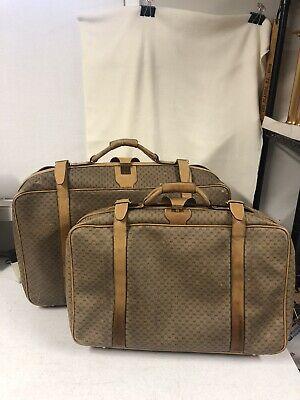 Vintage Set Of 2 Gucci Monogram Light Beige Leather 1970s - 80s Luggage Suitcase