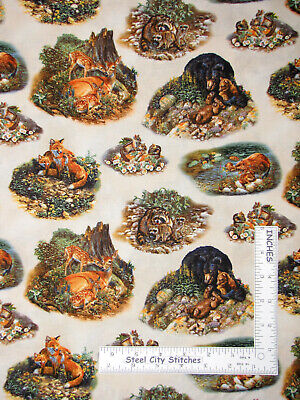 Woodland Families Baby Animal Earth Cotton Fabric Elizabeths Studio By The - Woodland Animal