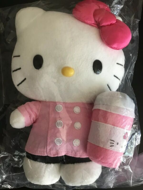 SANRIO HELLO KITTY CAFE PLUSH DOLL COFFEE CUP NWT DISCONTINUED
