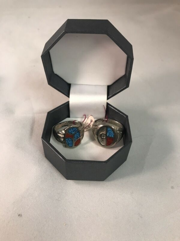 Vintage Native American Sterling Silver Blue & Red Rings Size 8 1/2 and 10 1/4