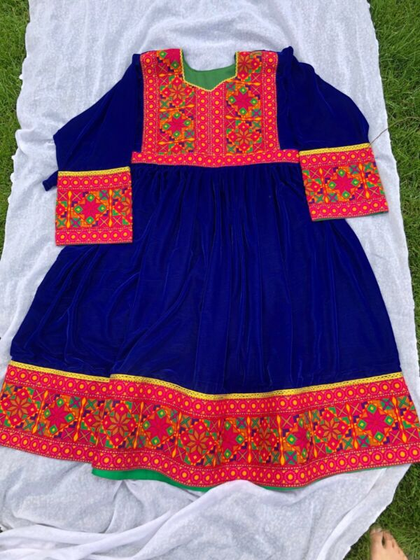Afghan traditional dress female Velvet frock gagra Large