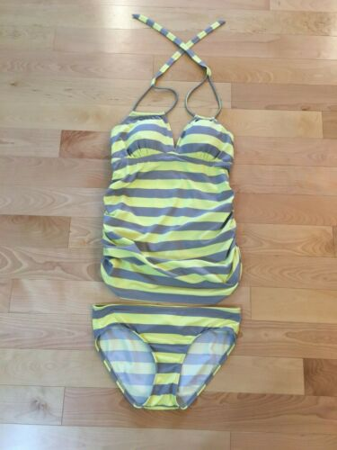 A Pea In The Pod Maternity Swimsuit 2 Piece Tankini Gray Yellow Striped Size S