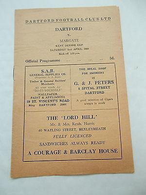 Dartford V Margate Football Programme 2/4/1960 -Kent Senior Cup