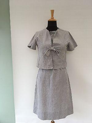 TRUE VINTAGE 1960s - Seersucker Dress With Matching Jacket - Approx UK size 12