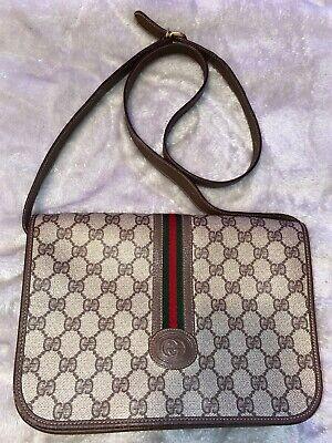 Vintage Gucci GG Monogram Supreme Sherry Messenger Shoulder Cross body bag 80's
