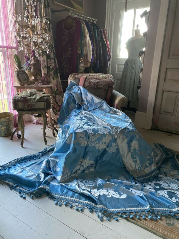 1920's Satin Damask Ice Blue Bedspread Ornate Bouillon Trim Hollywood Glam Chic