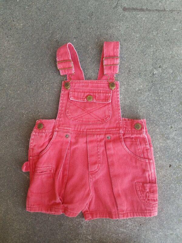 Vintage baby  Happy Kids Size 3T Denim RED Overalls