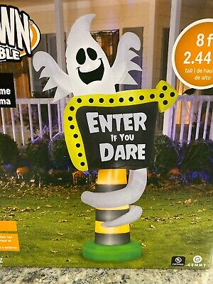 Gemmy Ghost Sign ENTER IF YOU DARE 8' Halloween Haunted Airblown Inflatable New