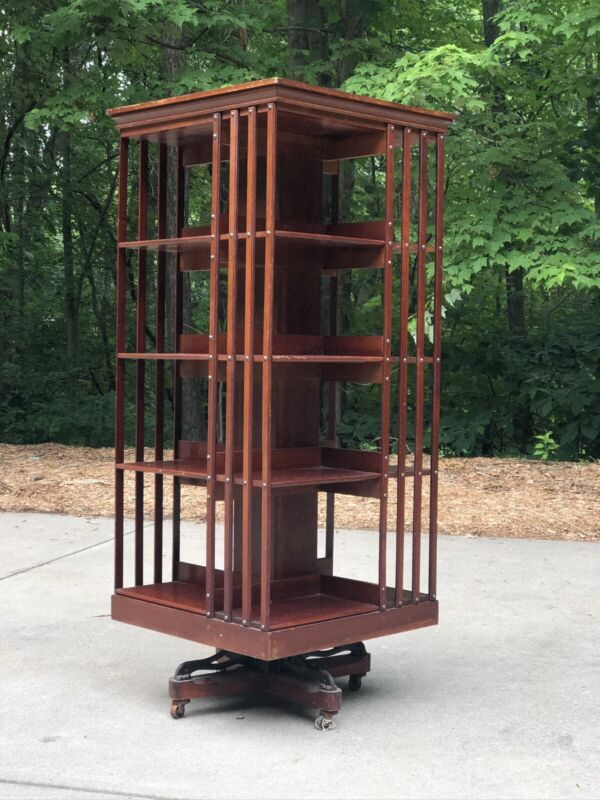 Antique 1870's Danners Revolving Rotating Bookcase John Danner Canton Ohio