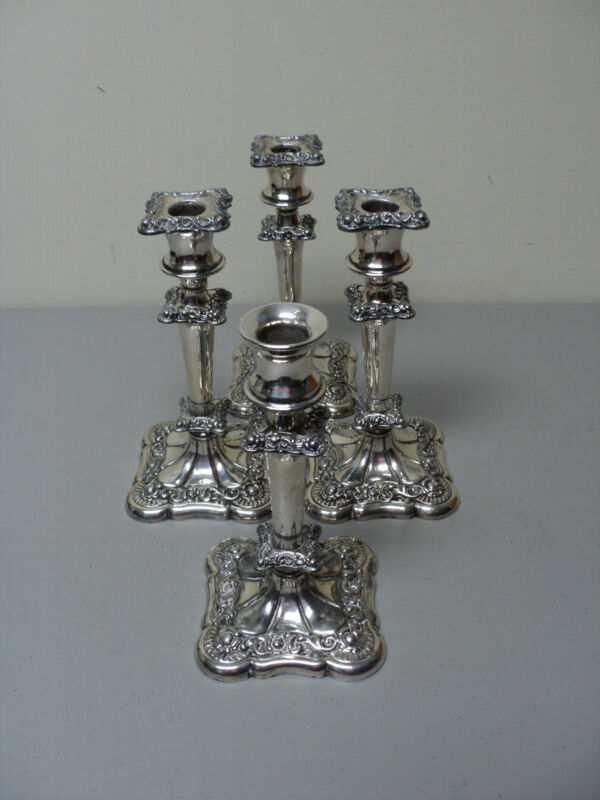 Set/4 19th C. Webster Silver Plate Candlesticks