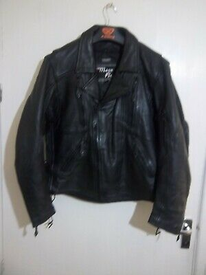 VINTAGE MEGA FORCE HEAVY LEATHER PERFECTO MOTORCYCLE JACKET SIZE 42 ZIP LINER