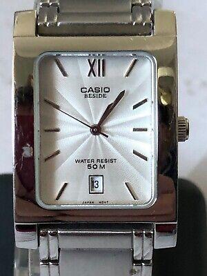 "MENS CASIO ""BESIDE"" Quartz Watch, S/S Bracelet, Used, Nice Condition"
