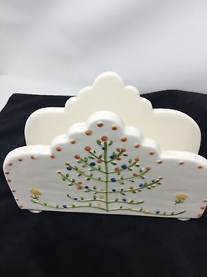 """""""Bird In Hand"""" by Andrea West Sigma Porcelain Painted Napkin Holder #1153"""