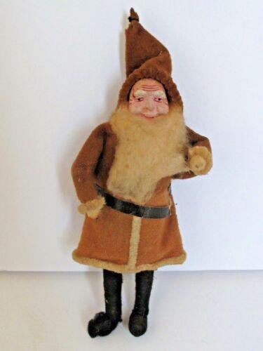 """Antique German Santa Claus Felt, Cotton & Composition Face Ornament 5 3/4"""" tall"""
