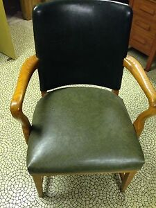 Hunter Green Leather Solid Wooden Chair  London Ontario image 2