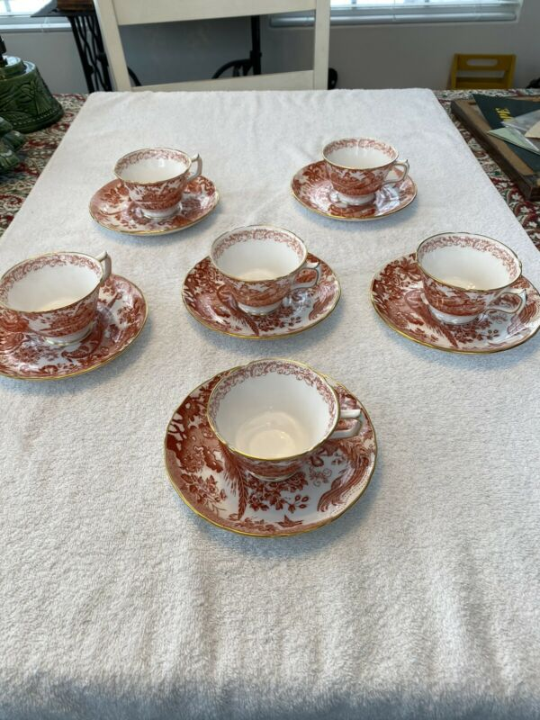 Set Of 6 Royal Crown Derby RED AVES Cups & Saucers