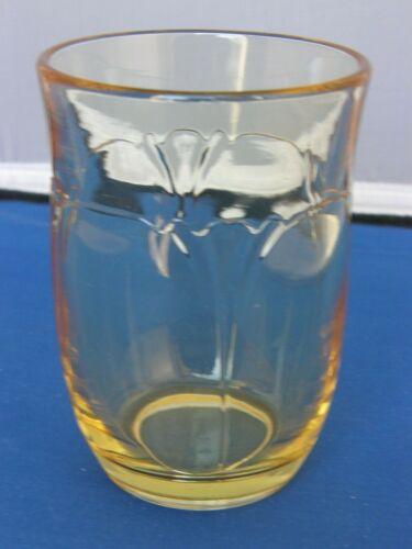 Tumbler-Empress Pattern-Sahara Yellow-Heisey Elegant Glass-Signed-1930-1938