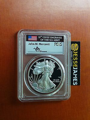 2017 S PROOF SILVER EAGLE PCGS PR70 DCAM FLAG MERCANTI FIRST DAY OF ISSUE FDOI