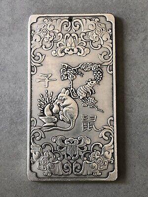 Tibetan Silver Paperweight Pendant Feng-Shui Zodiac Horse Ying-Yang Bagua 4.7OZ