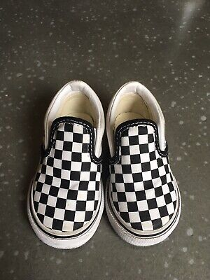 Toddler Boy Girl Checkered Vans Off the Wall shoes Size 6 Slip On Classics