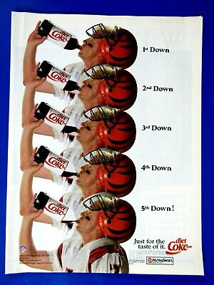 "1990 Boomer Esiason Cincinnati Bengals Diet Coke Original Print Ad 8.5 x 11"""