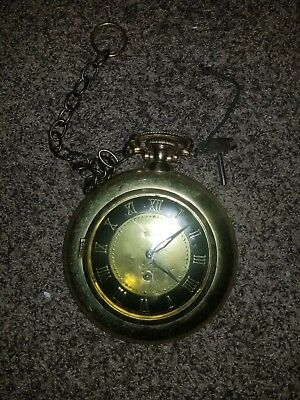 Vintage United Model 576 Pocket Watch 8 Day Wall Clock With Key & Chain