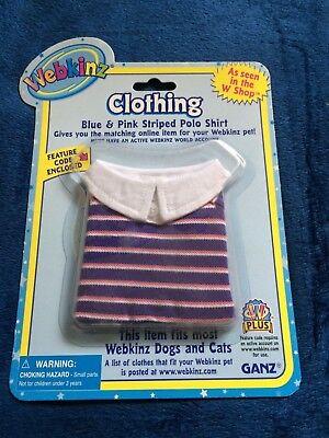 NEW Webkinz Pet Clothing Blue & Pink Striped Polo Shirt W Online Code Ganz Plush - Blue Code Clothing