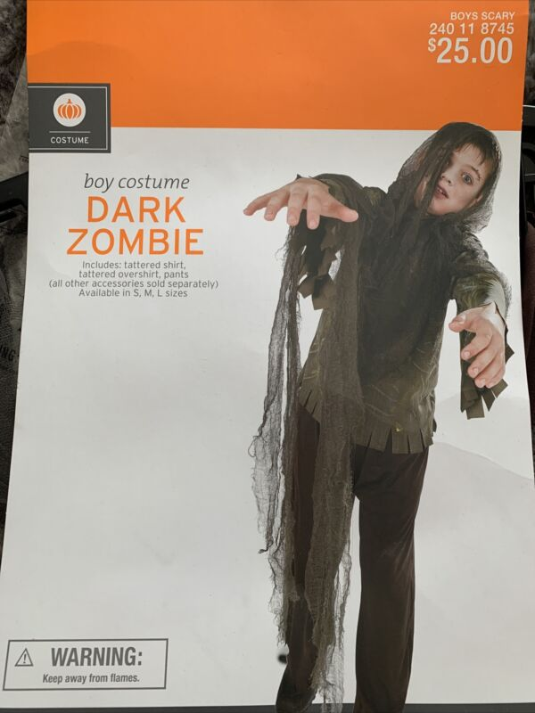 Children's Dark Zombie Kids Halloween Medium Costume New