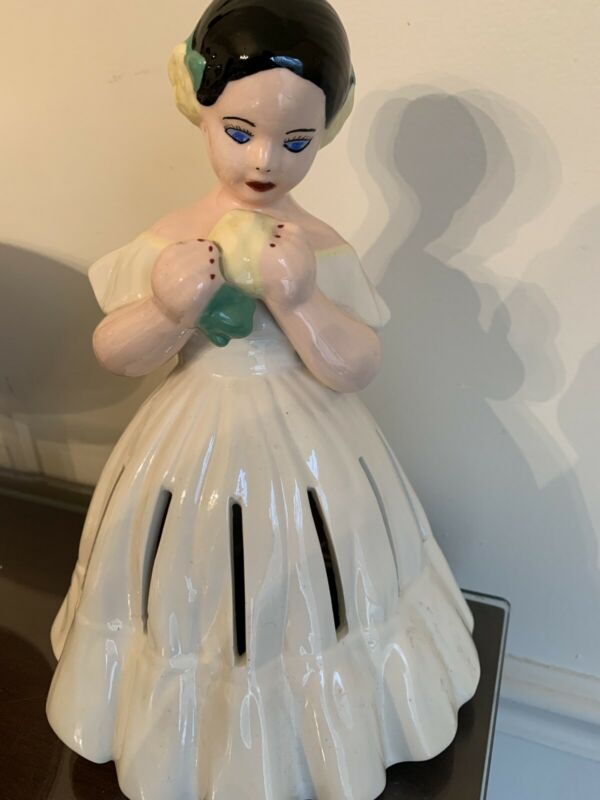 "Vintage Ceramic 9 1/2"" Tall Figural Lady Napkin Holder, from the 1930's, 13 Slit"