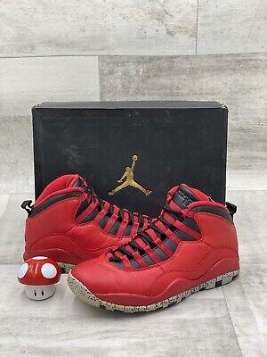 Nike Air Jordan X 10 Retro Bulls Over Broadway Red Black Grey 705178-601 Sz 8.5