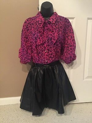 Hello Kitty Pussybow Pink Leopard Blouse & Faux Leather Embossed Skirt S Small (Leopard Kitty)